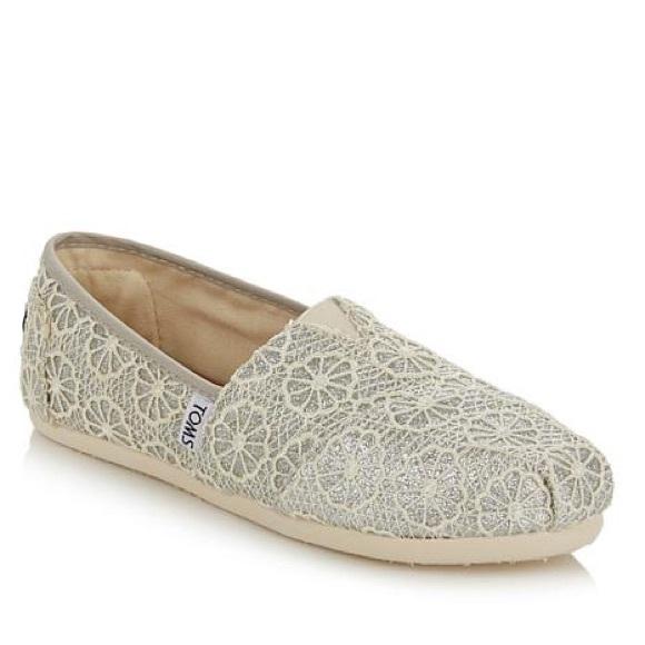 Toms Shoes Womens Classic Silver Crochet Glitter Flats Poshmark